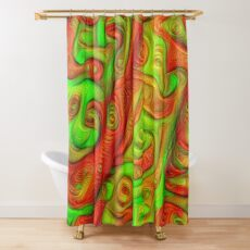 Green and red abstraction Shower Curtain