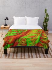 Green and red abstraction Throw Blanket