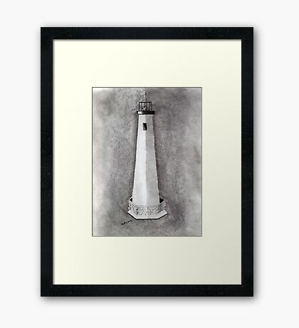 Old White Lighthouse Framed Print