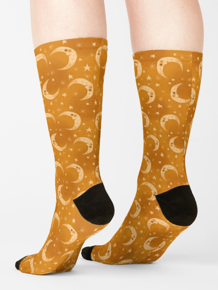 Alternate view of Yellow Moons and Stars Socks