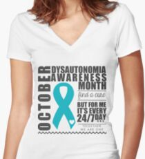 October - Dysautonomia Awareness Month Women's Fitted V-Neck T-Shirt