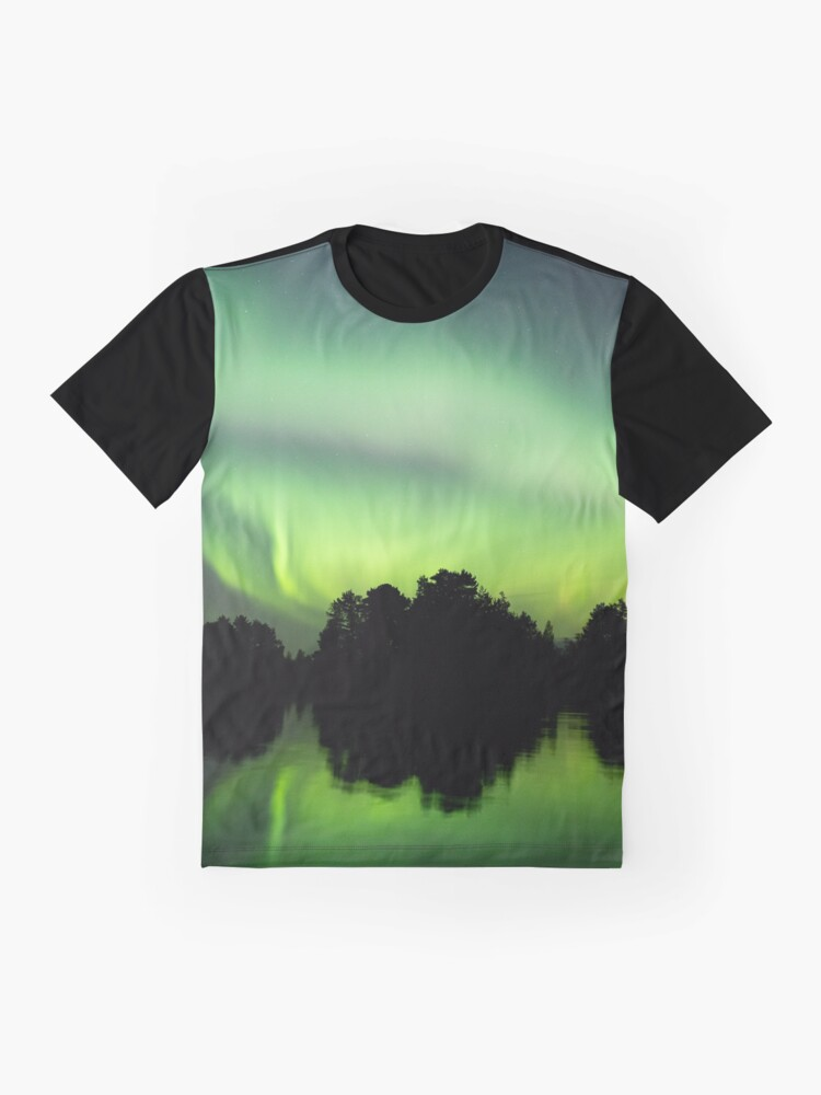 Alternate view of Northern lights glowing over lake in Finland Graphic T-Shirt