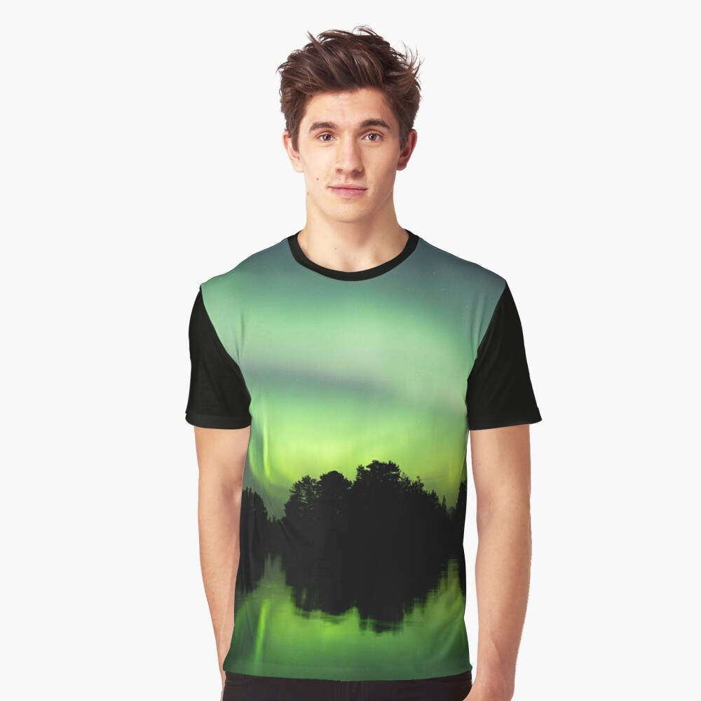 Northern lights glowing over lake in Finland Graphic T-Shirt
