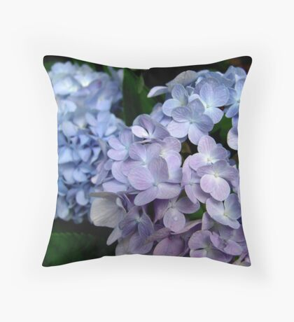 Hydrangeas, Blue and Lavender Throw Pillow