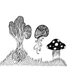 psychedelic trippy dream scene black and white high contrast by karen-anne geddes by puzzledcellist
