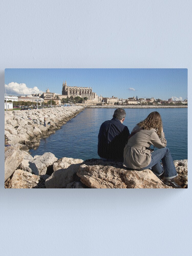 Alternate view of View of the Cathedral from a spot in Palma harbour Canvas Print