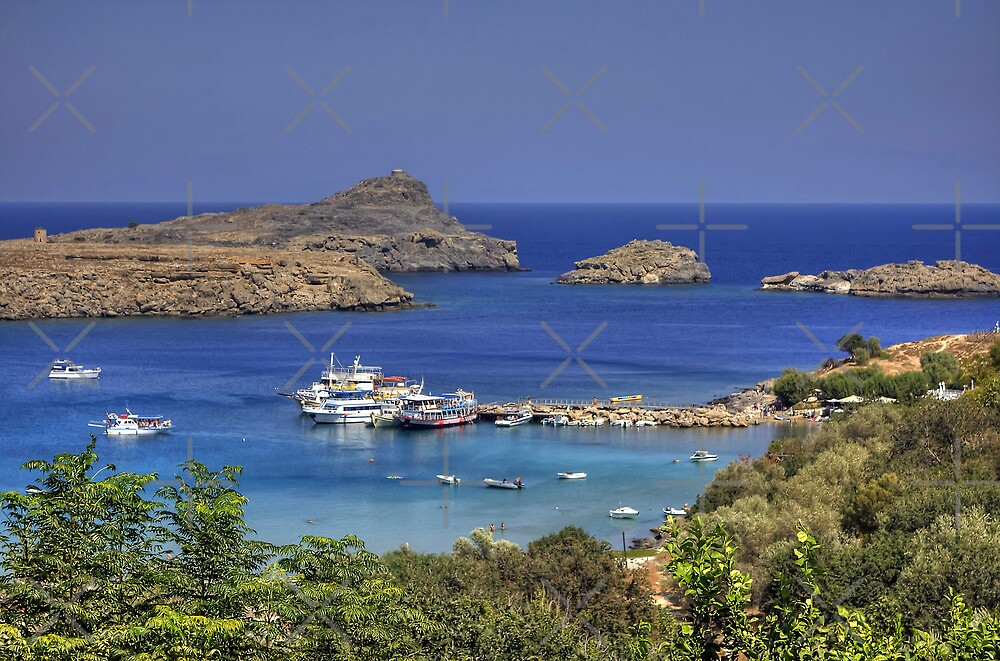 Boats in Lindos Bay by Tom Gomez