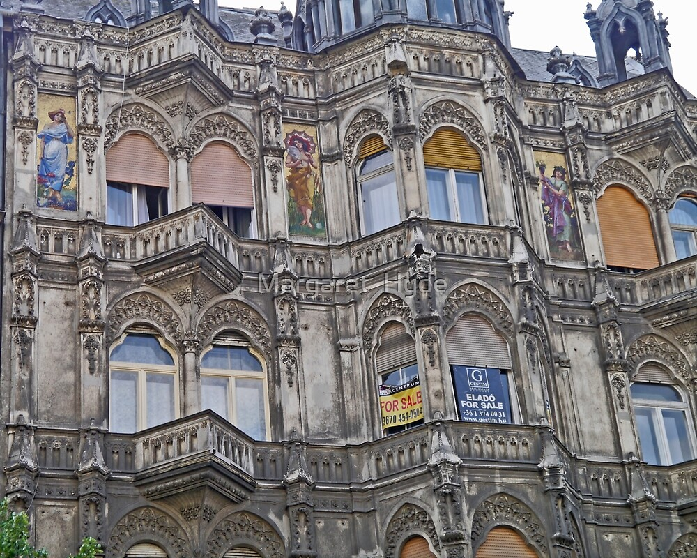 Painted Ladies building, Budapest, Hungary by Margaret  Hyde