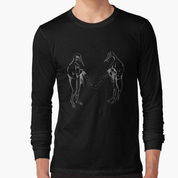 Record Hospital Party Birds, White on Black Long Sleeve T-Shirt