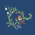 Christmas Chintz with Robin - dark blue Traditional chintz by Cecca Designs by Cecca-Designs