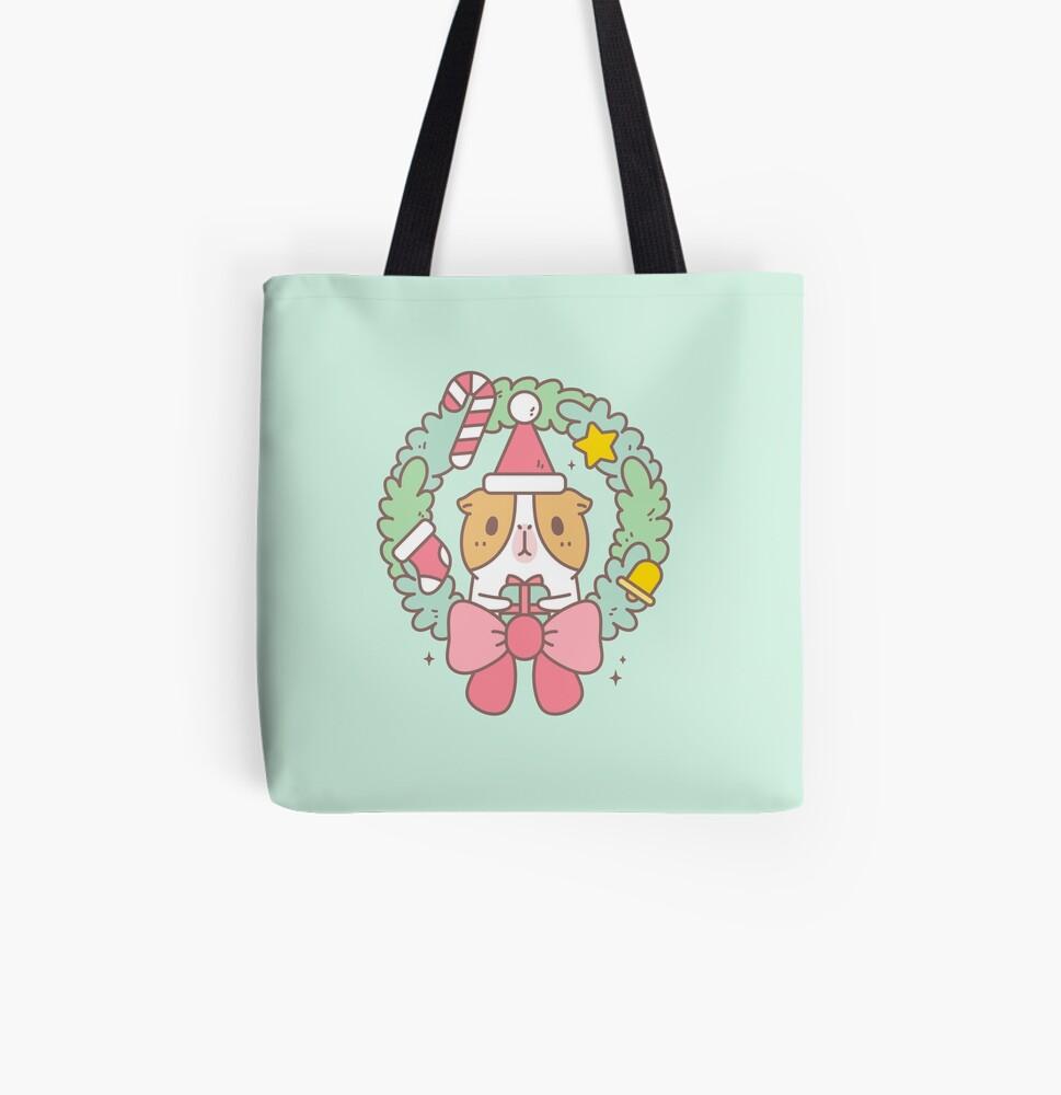 Bubu the Guinea pig, Christmas Wreath All Over Print Tote Bag