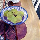 Pears in Blue Bowl by Libby Yee