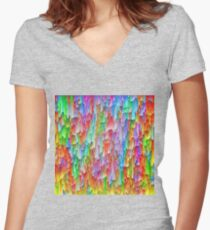 Abstraction Fitted V-Neck T-Shirt