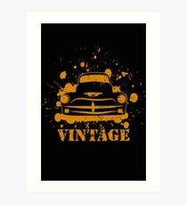 Vintage Pickup Vector Art Print