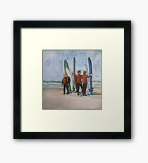 Surfers in Tofino, mixed media on canvas Framed Print