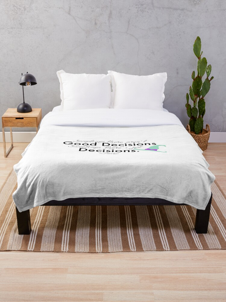 Taako Decisions Quote Throw Blanket by Tlpstorms