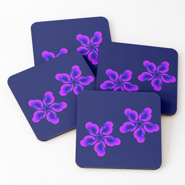 Spiral Pink Blue Abstract Flowers Coasters (Set of 4)