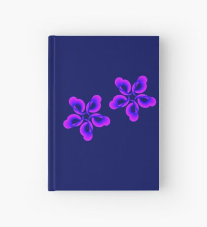 Spiral Pink Blue Abstract Flowers Hardcover Journal