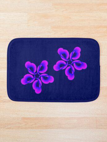 Spiral Pink Blue Abstract Flowers Bath Mat