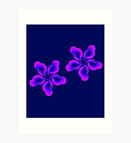 Spiral Pink Blue Abstract Flowers Art Print