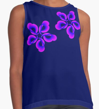 Spiral Pink Blue Abstract Flowers Sleeveless Top