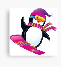 Cute Penguin Snowboarding Canvas Print