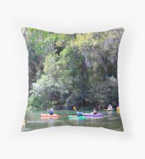 Colorful Kayaks, Rainbow River Throw Pillow