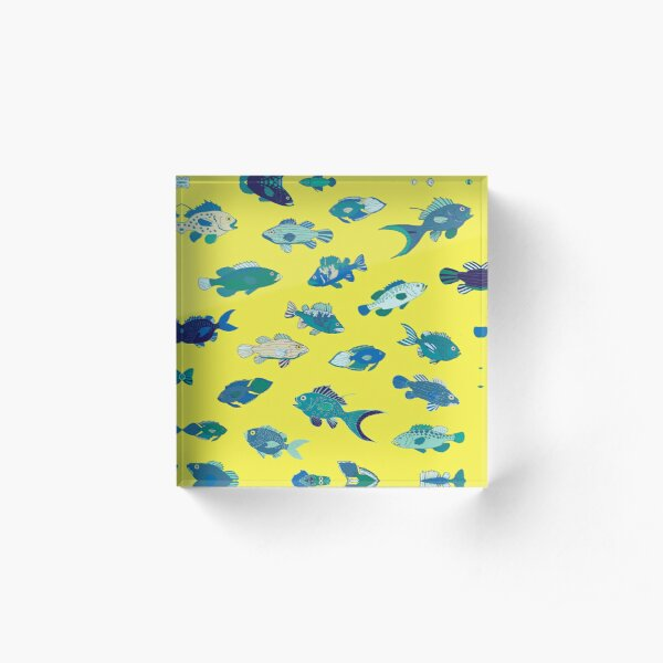 Tropical Fish - Lemon, blue and teal - Nautical pattern by Cecca Designs Acrylic Block