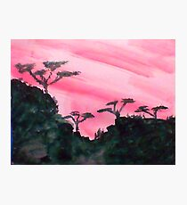 Africa Series, hills with trees in beautiful pink,red sunset, watercolor Photographic Print