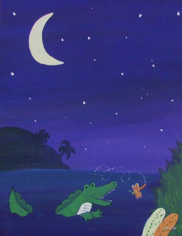 Alligator Chasing Firefly (Jungle Nursery) by qarrie