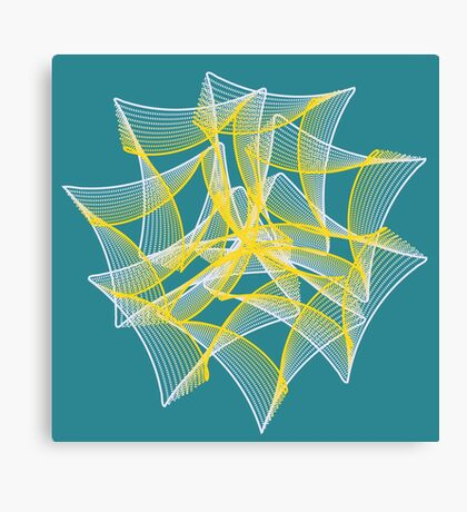 Yellow and Blue Chiffon Organza Ribbon Canvas Print