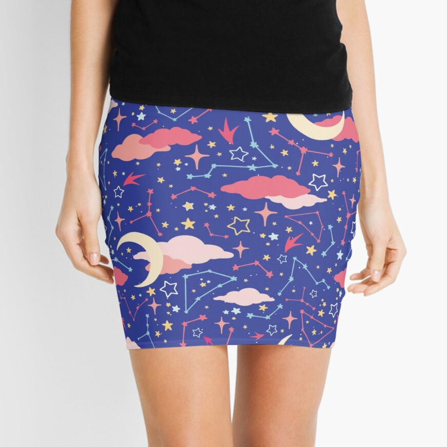 Constellation Stars and Moons in Neon Pastels Mini Skirt