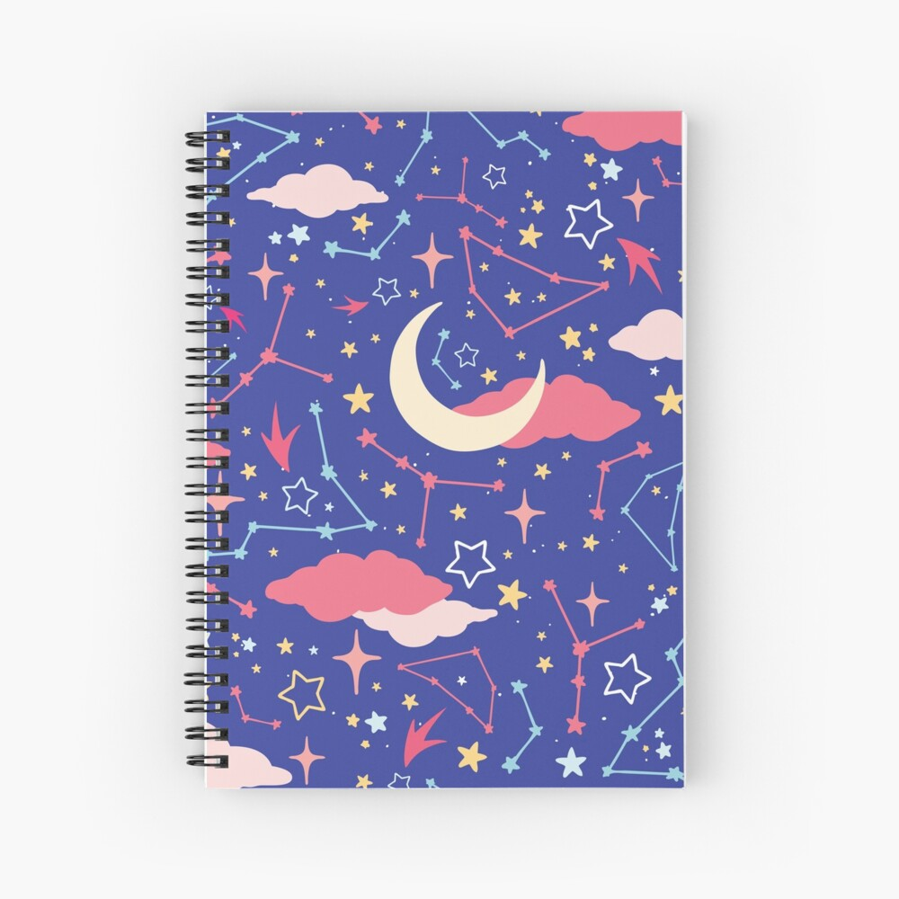 Constellation Stars and Moons in Neon Pastels Spiral Notebook