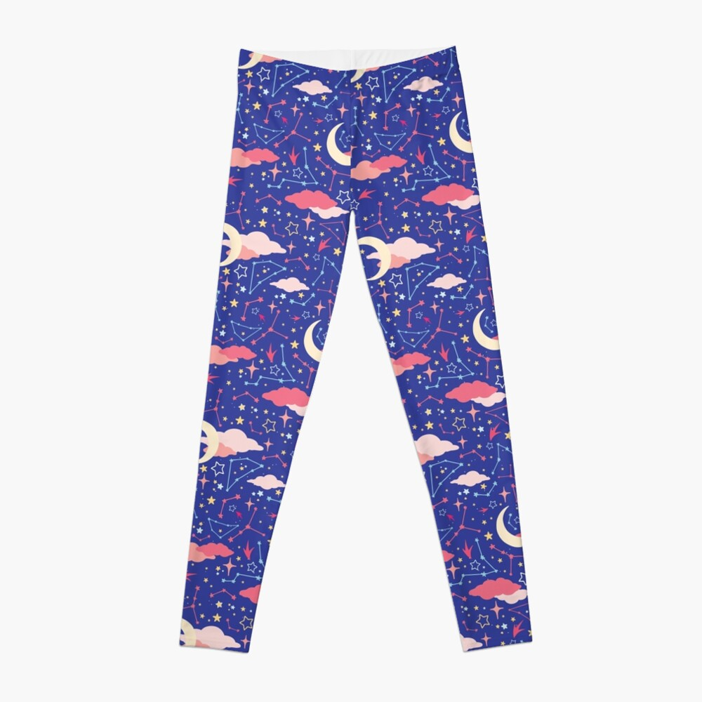 Constellation Stars and Moons in Neon Pastels Leggings