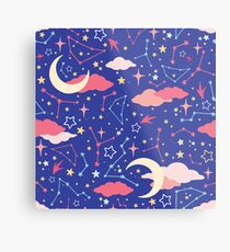 Constellation Stars and Moons in Neon Pastels Metal Print