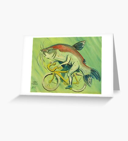 Catfish on a Bicycle Greeting Card
