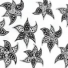 Trippy black and white floral doodle art pattern by puzzledcellist