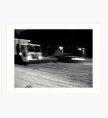 NYC Snowplow at Night Art Print