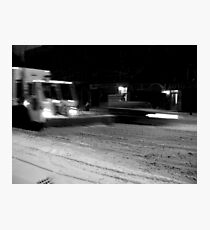NYC Snowplow at Night Photographic Print