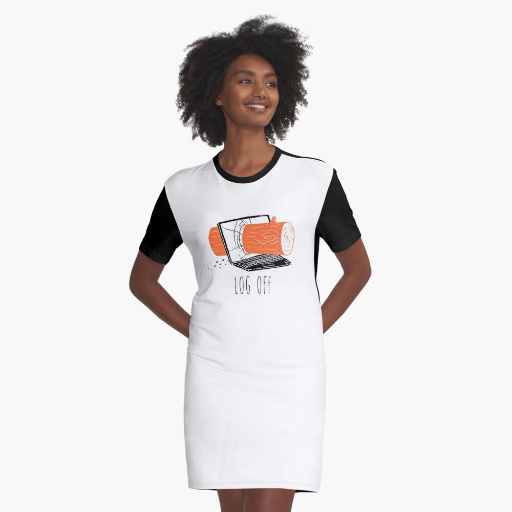 Log Off Graphic T-Shirt Dress