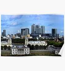 Canary Wharf From Greenwich Poster