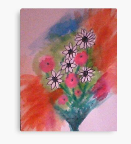 Let My Flowers Bring Back That Smile!   watercolor Canvas Print