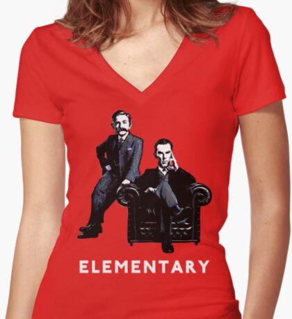 19th Century Sherlock and Watson Women's Fitted V-Neck T-Shirt