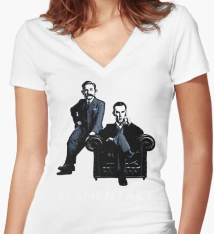 19th Century Sherlock and Watson Women's Fitted V-Neck T-Shirt