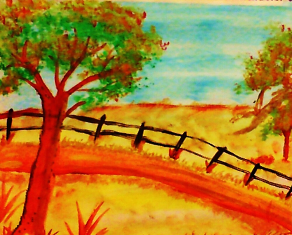 Old  Fence by the Road, watercolor by Anna  Lewis, blind artist