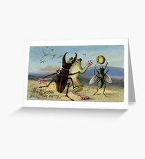 Victorian Christmas Bizarre - Dancing Frogs and Insects Greeting Card