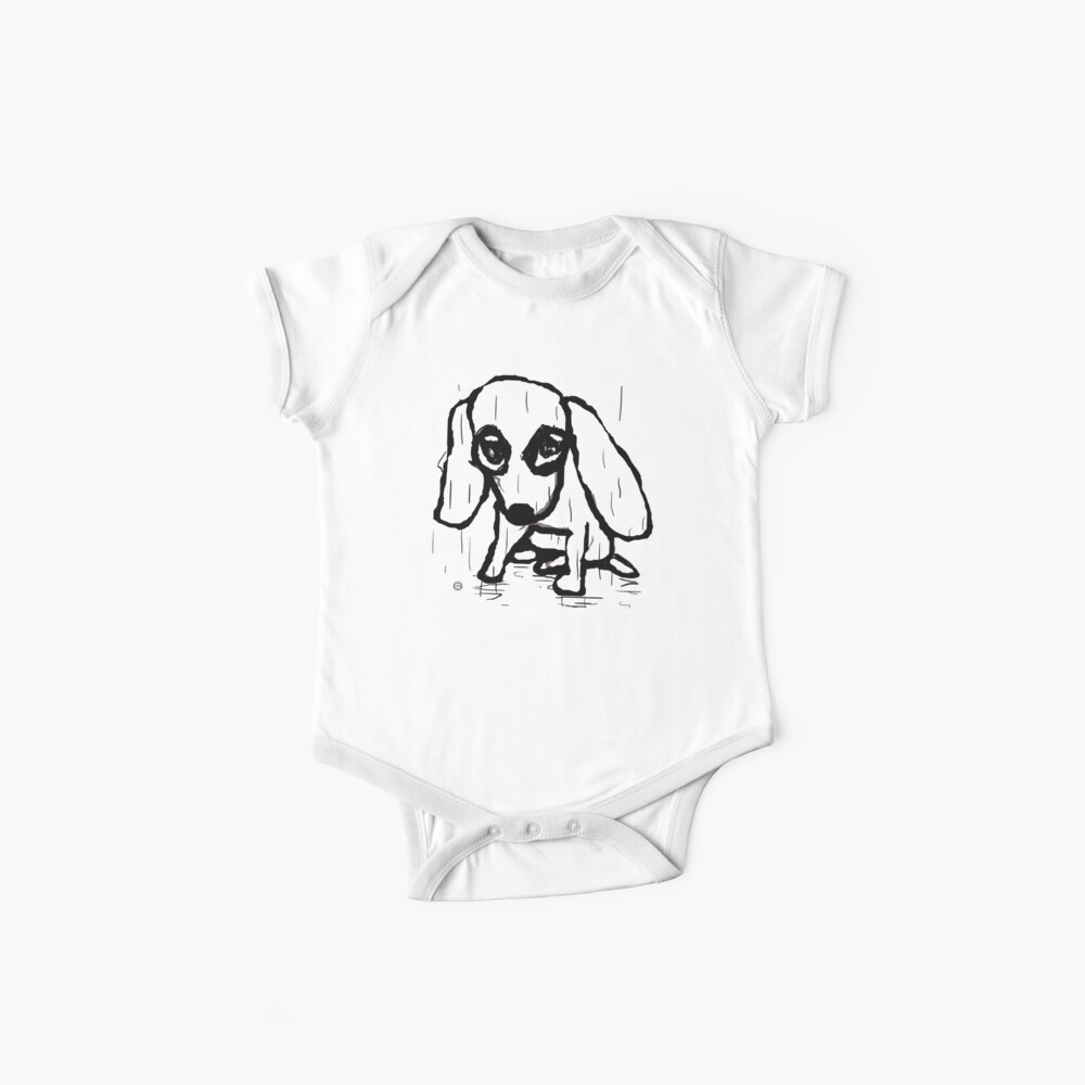 little dog in the rain Baby One-Piece