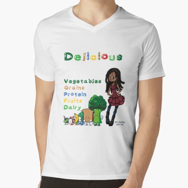 DELICIOUS Eat Healthy with NIK V-Neck T-Shirt