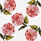 Hydrangea Flowers Watercolor - Pink by aliciahayesart