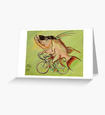 Hogfish on a Bicycle Greeting Card